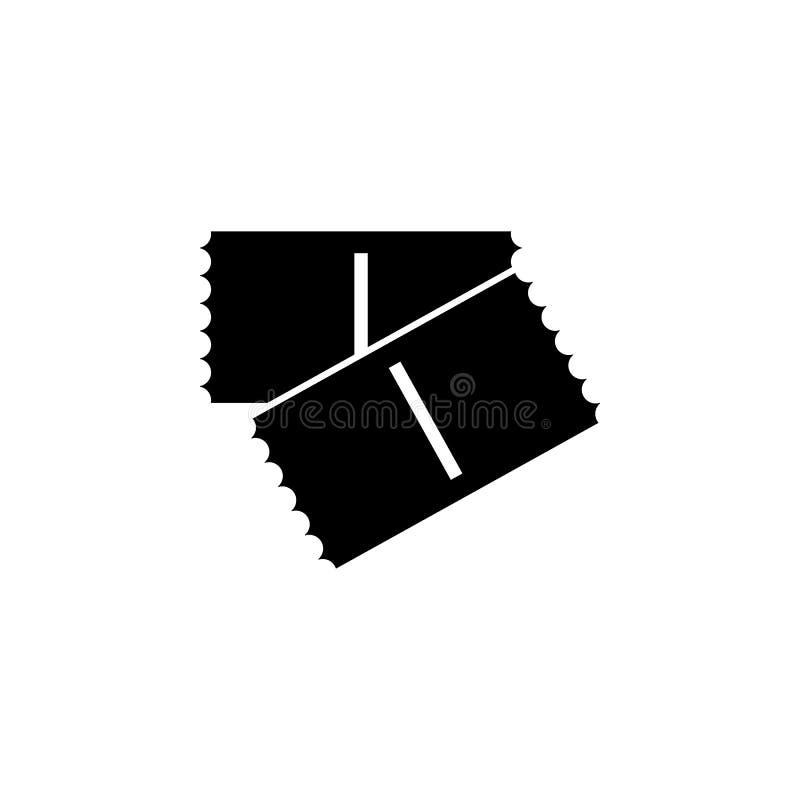 Icono monocromático del boleto Ilustración del vector Boleto dos Boleto del cine Engrana el icono ilustración del vector