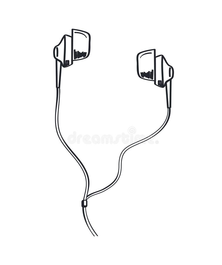 Icono monocromático del bosquejo de la música de los auriculares que escucha ilustración del vector