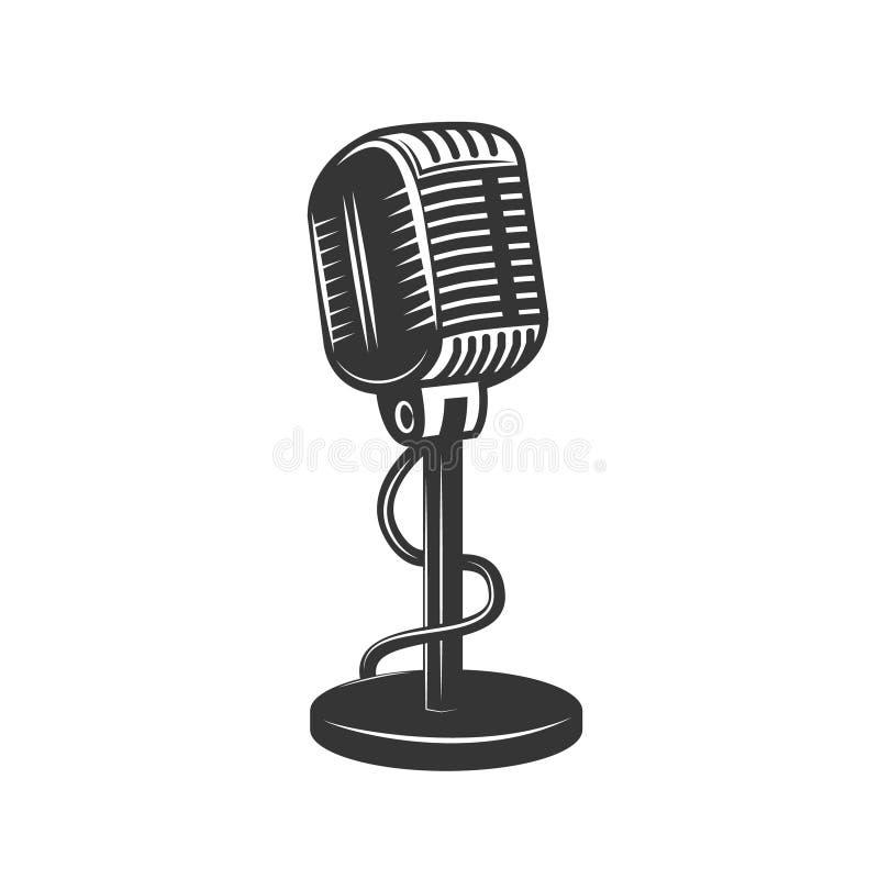 Icono monocromático retro del micrófono ilustración del vector