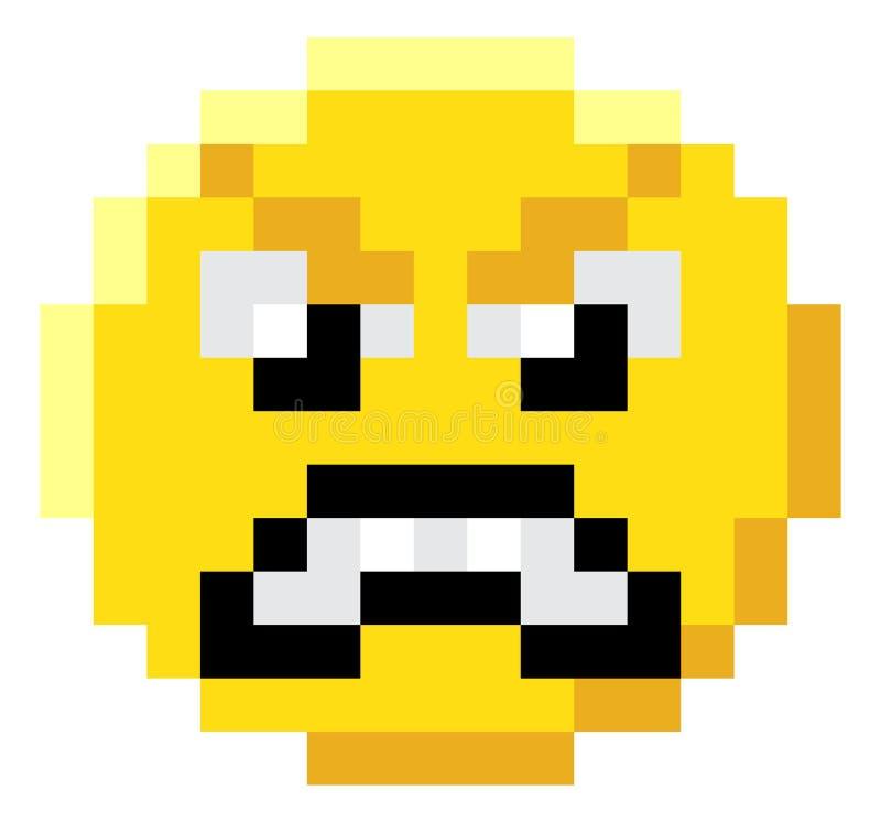Icono mordido del videojuego del arte 8 del pixel de la cara del Emoticon libre illustration