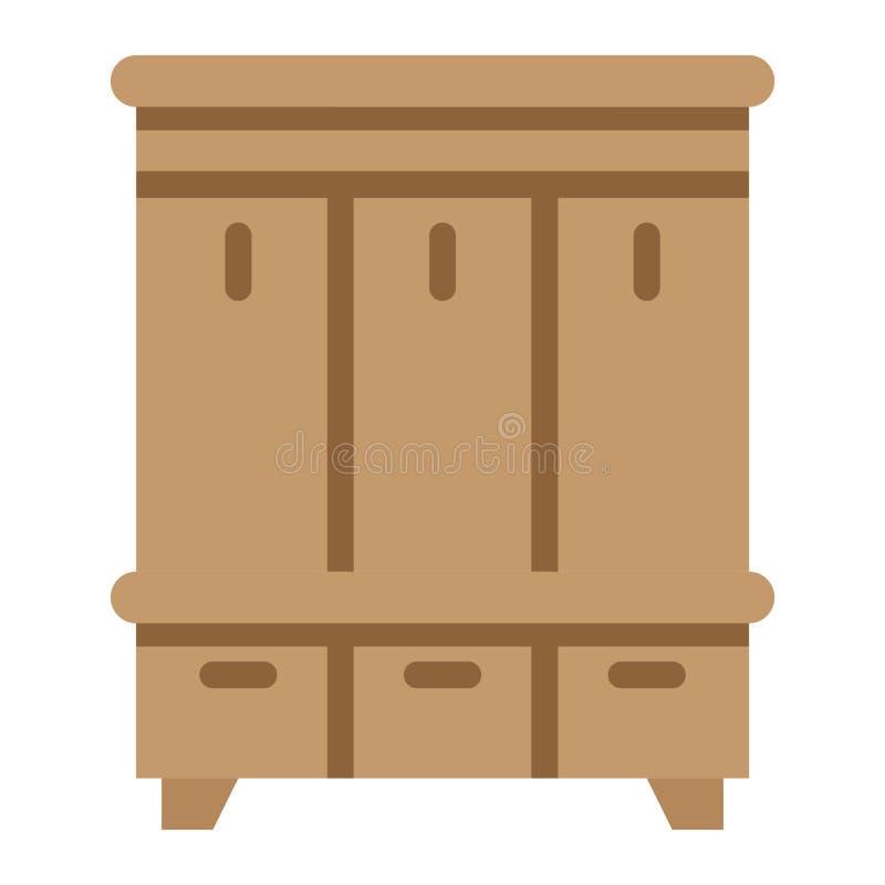 Icono, muebles e interior planos del armario del vestíbulo ilustración del vector