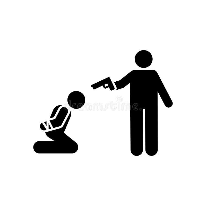 Icono muerto del arma de la matanza del hombre Elemento del ejemplo de la muerte del pictograma ilustración del vector
