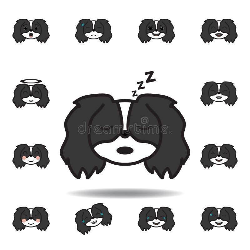 icono multicolor cansado del emoji pekingese Fije de iconos pekingese del ejemplo del emoji Las muestras, símbolos se pueden util ilustración del vector