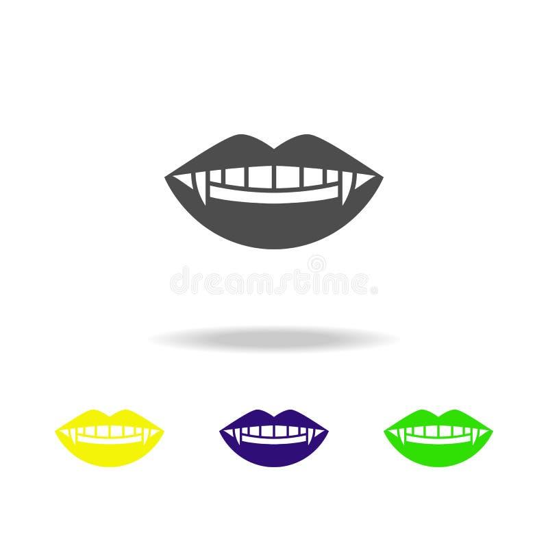 icono multicolor de los colmillos Elemento del ejemplo de los elementos del fantasma Las muestras y el icono de los símbolos se p ilustración del vector