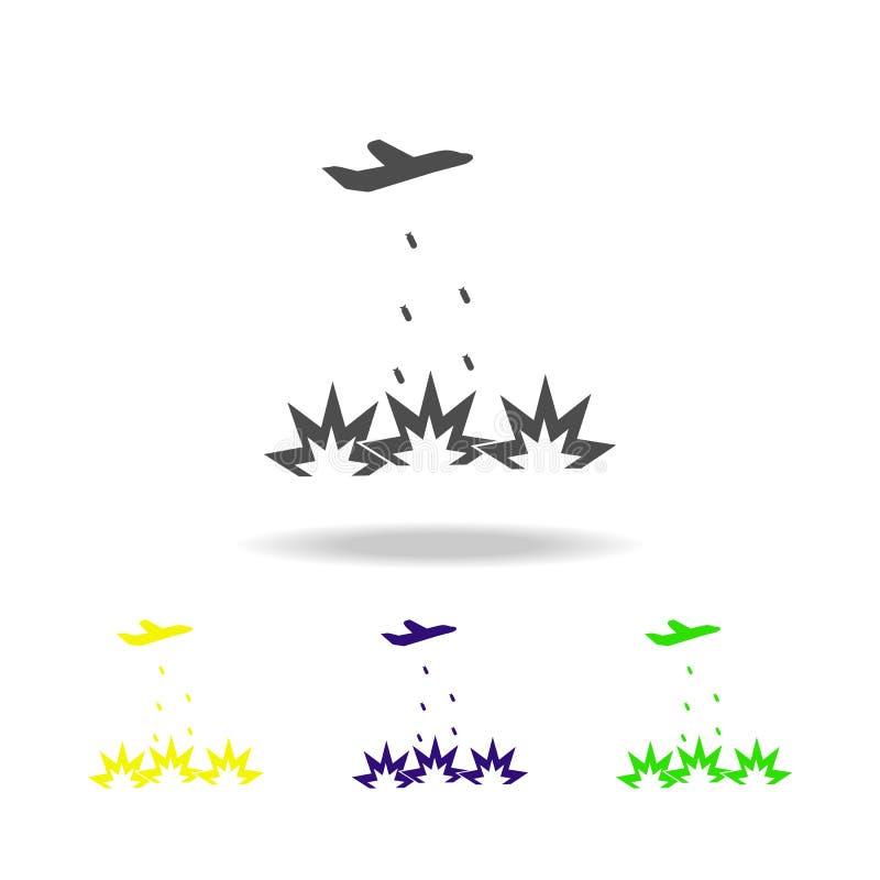 icono multicolor del bombardeo Elemento del ejemplo de los elementos del terrorismo Muestras e icono para los sitios web, DES de  ilustración del vector