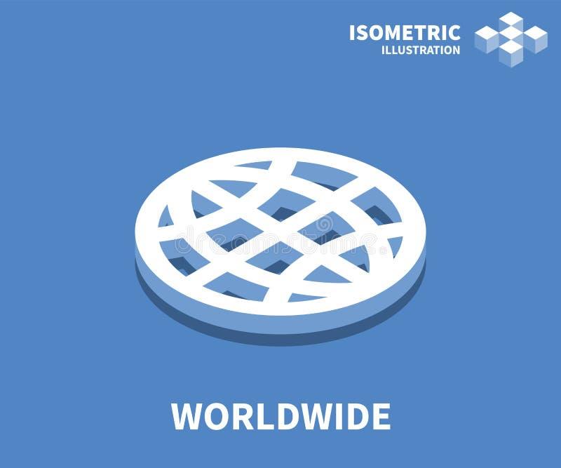 Icono mundial, ejemplo del vector en el estilo isométrico plano 3D ilustración del vector