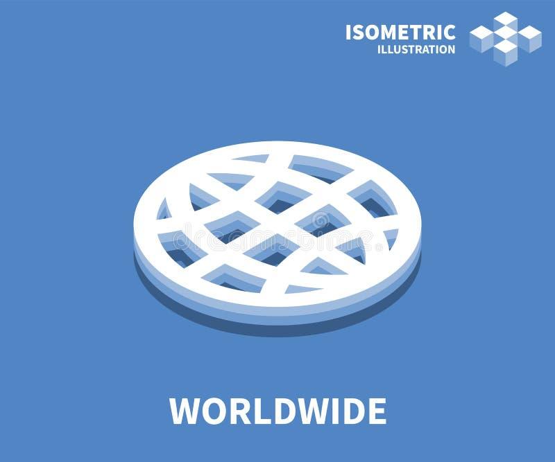 Icono mundial, ejemplo del vector en el estilo isométrico plano 3D libre illustration