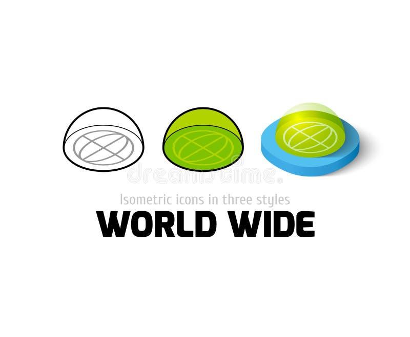 Icono mundial en diverso estilo stock de ilustración