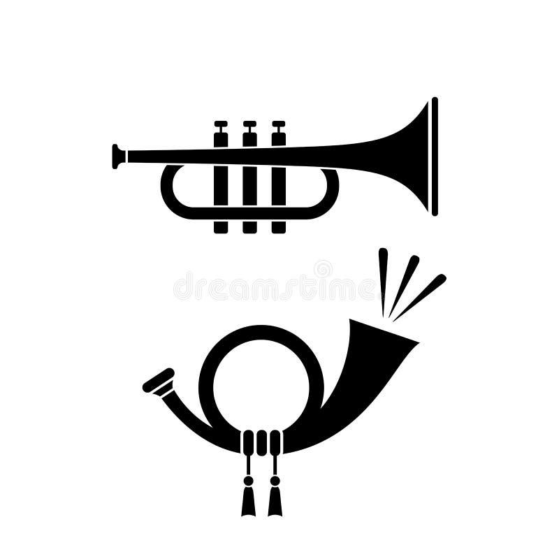Icono musical de la trompeta y del cuerno stock de ilustración