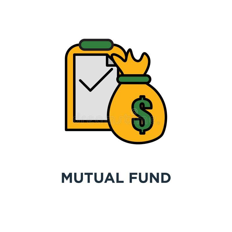 icono mutuo de la gestión de fondos inversión a largo plazo, aprobación de préstamo, servicio de la contabilidad, diseño del símb ilustración del vector