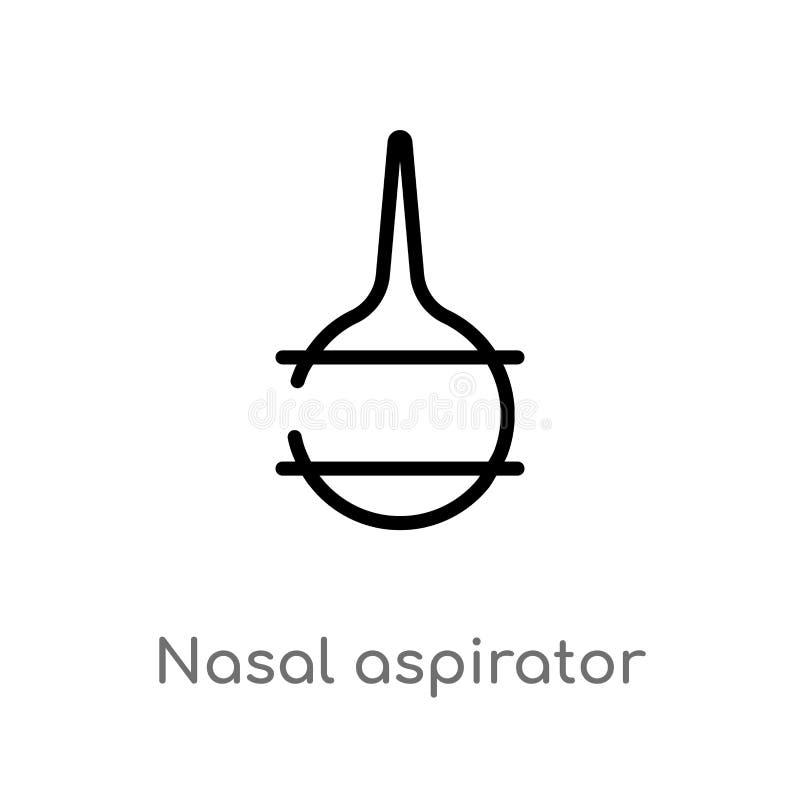 icono nasal del vector del aspirador del esquema l?nea simple negra aislada ejemplo del elemento del concepto de la higiene Movim ilustración del vector