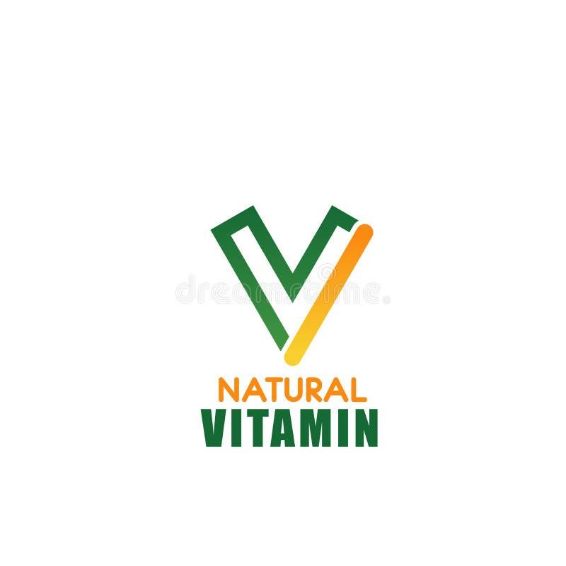 Icono natural de la letra V del vector de la vitamina ilustración del vector