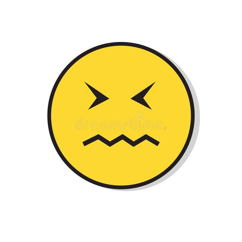 Icono negativo de la emoción de la gente de la cara triste amarilla stock de ilustración