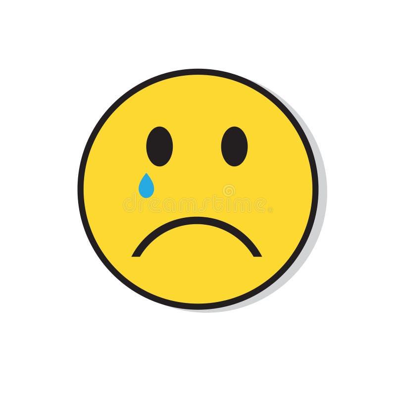 Icono negativo de la emoción de la gente del grito triste amarillo de la cara ilustración del vector