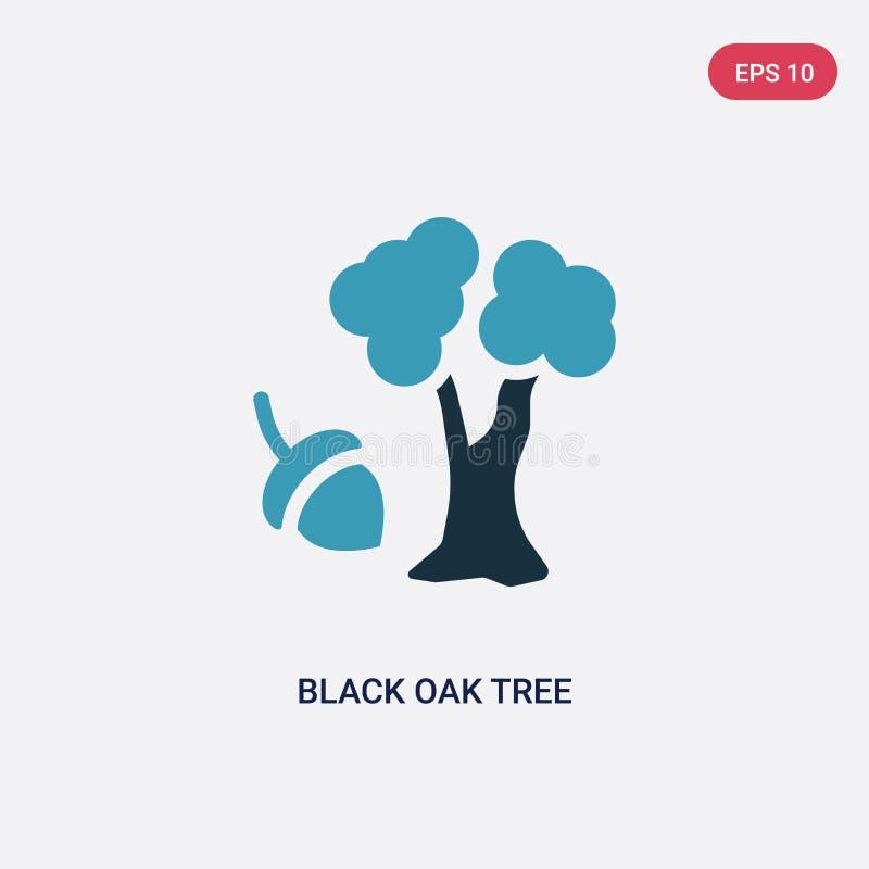 Icono negro bicolor del vector del roble del concepto de la naturaleza el símbolo negro azul aislado de la muestra del vector del libre illustration