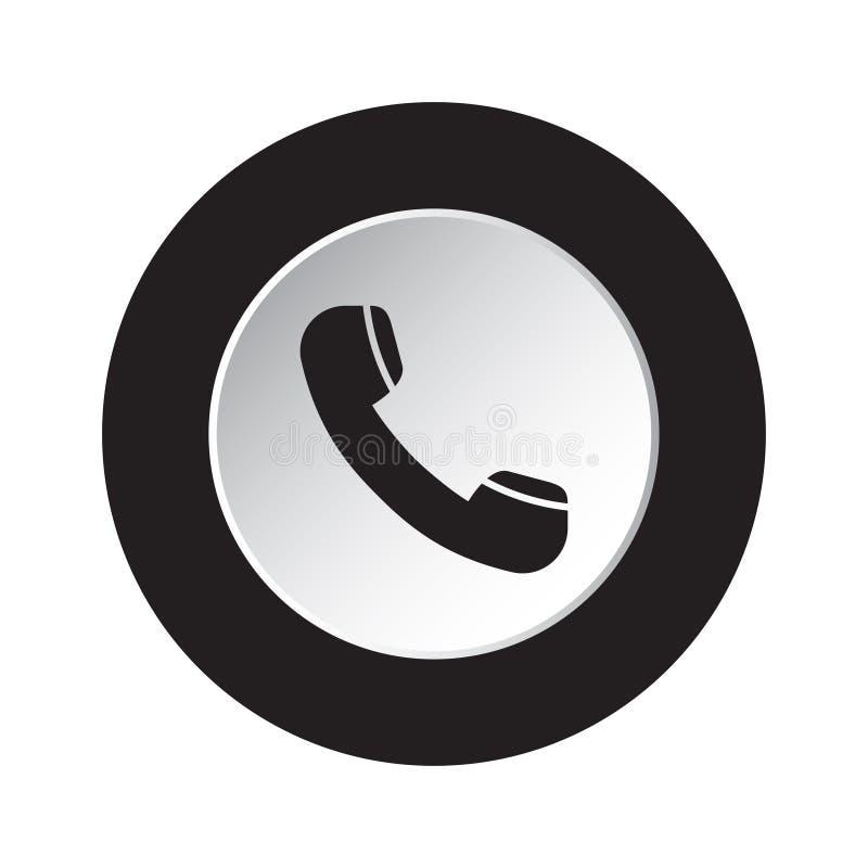 Icono negro, blanco redondo - microteléfono de teléfono viejo ilustración del vector