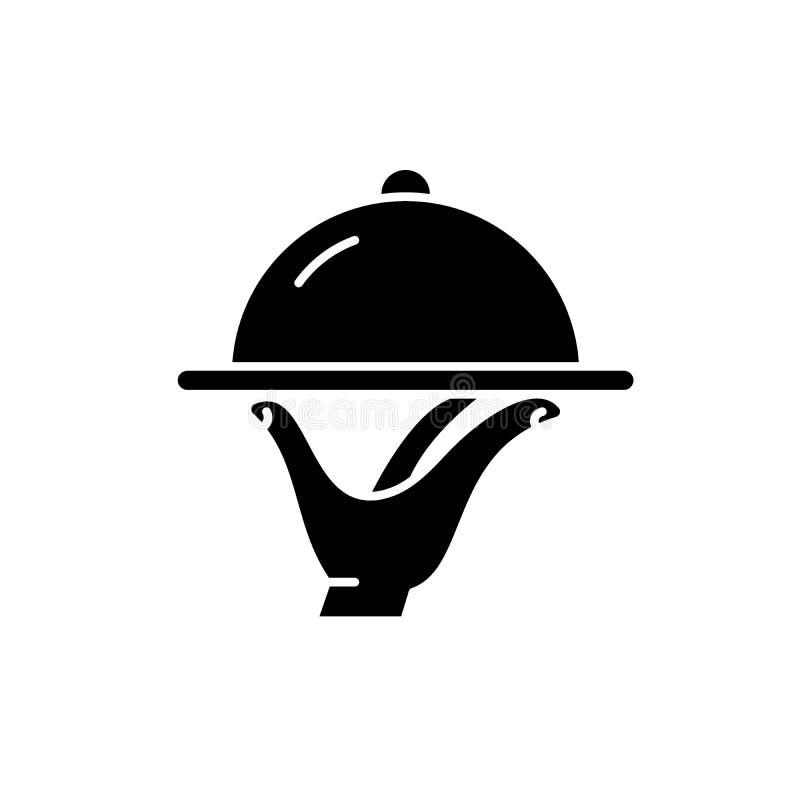 Icono negro de abastecimiento, muestra del vector en fondo aislado Símbolo de abastecimiento del concepto, ejemplo stock de ilustración