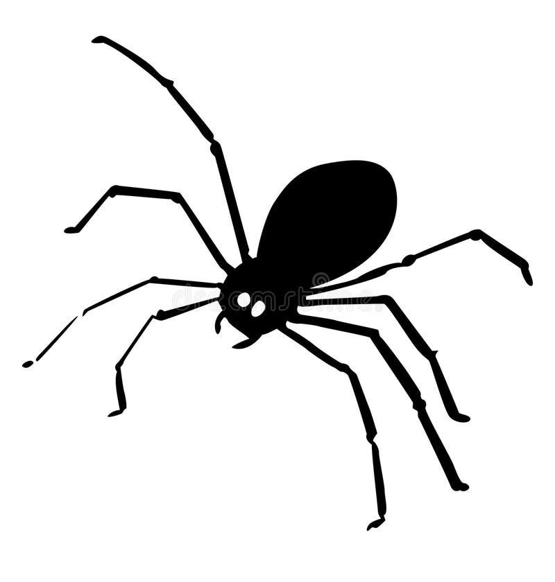 Icono negro de la araña aislado en el fondo blanco Ilustración del vector libre illustration