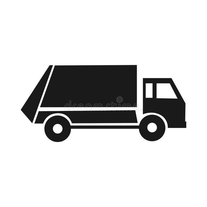 Icono negro de la basura Servicio comunal Camiones especiales Limpieza de la ciudad ilustración del vector