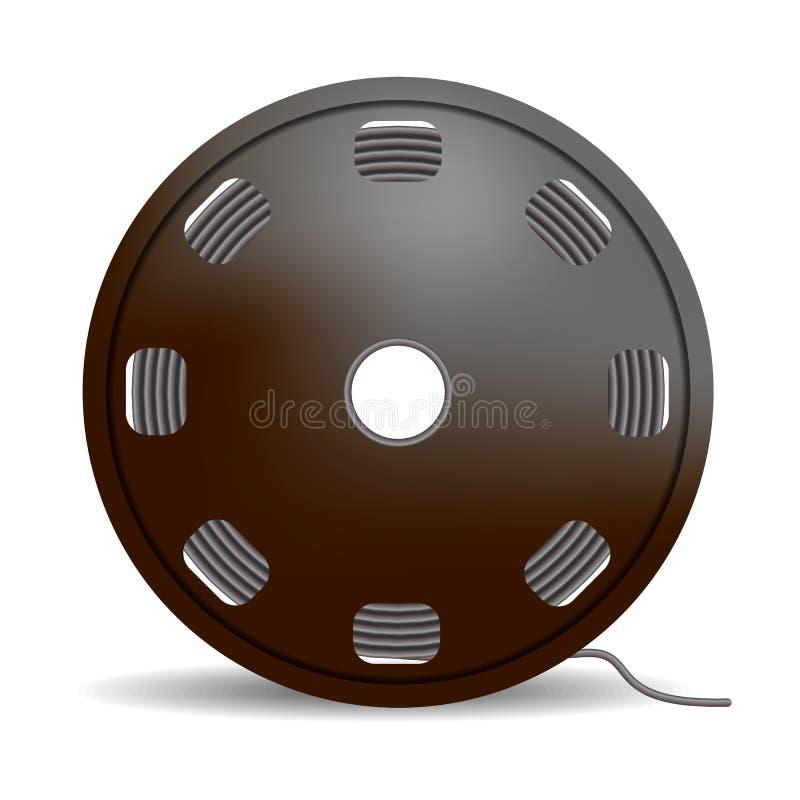 Icono negro de la bobina del alambre, estilo realista stock de ilustración