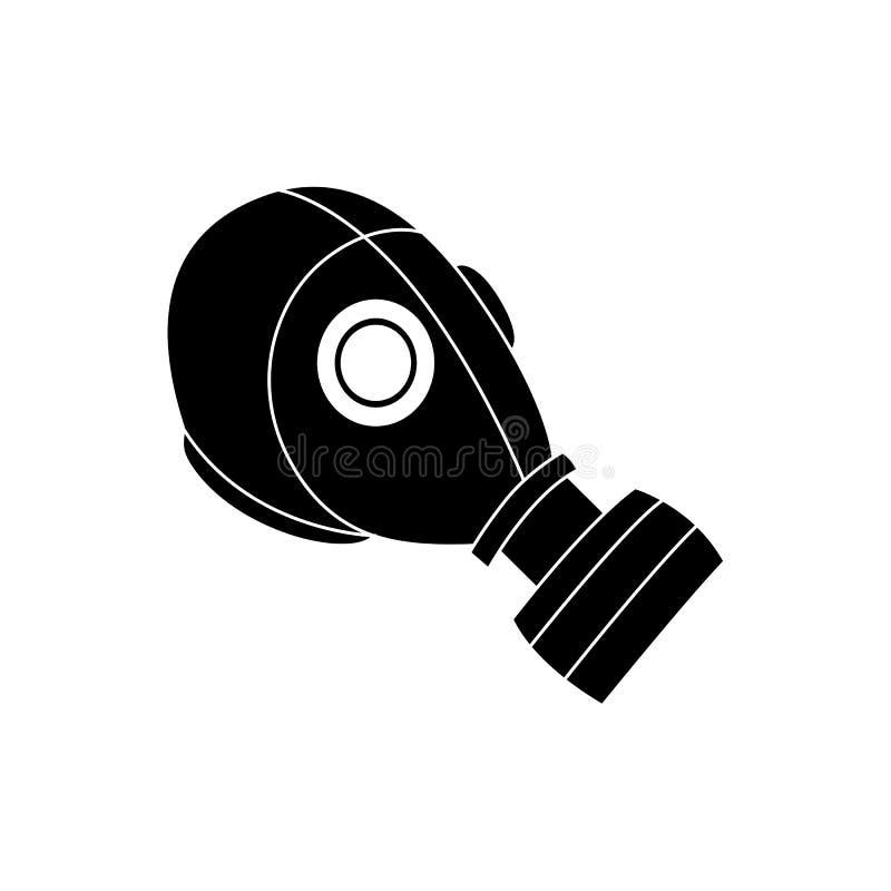Icono negro de la careta antigás, sombrero químico de la protección del peligro con un respirador libre illustration