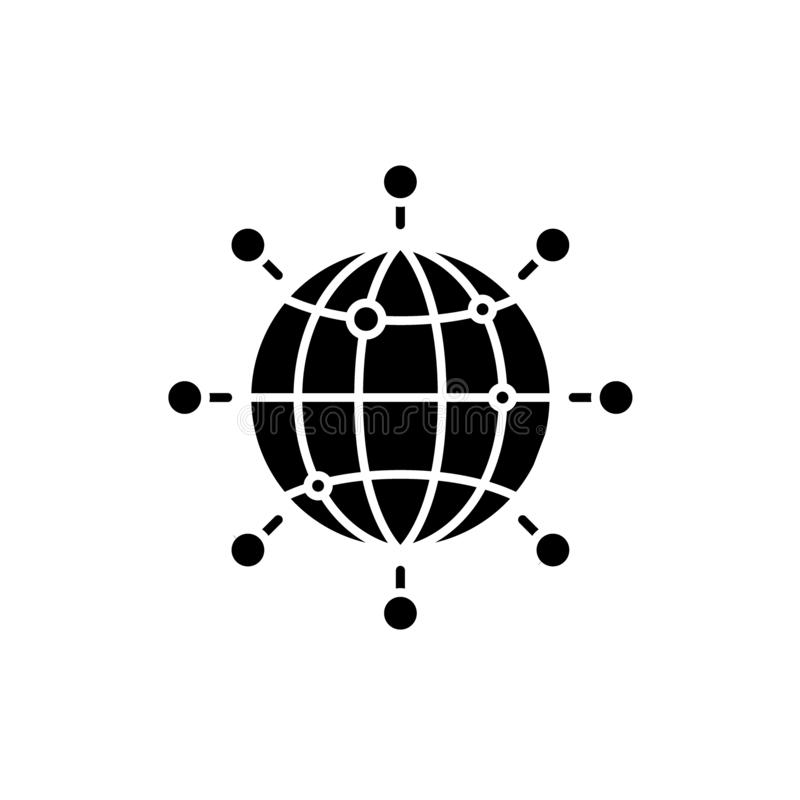 Icono negro de la conexión global, muestra del vector en fondo aislado Símbolo global del concepto de la conexión, ejemplo stock de ilustración