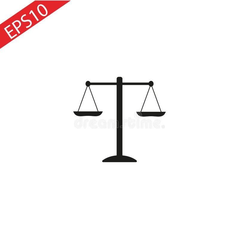 Icono negro de la escala de la justicia en el fondo blanco stock de ilustración