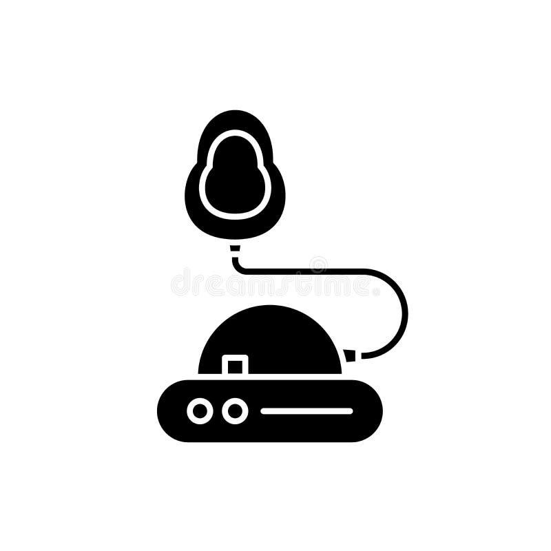 Icono negro de la inhalación, muestra del vector en fondo aislado Símbolo del concepto de la inhalación, ejemplo ilustración del vector