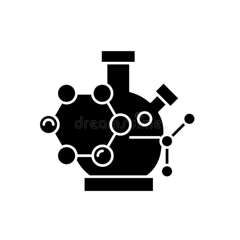 Icono negro de la investigación científica, muestra del vector en fondo aislado Símbolo del concepto de la investigación científi libre illustration
