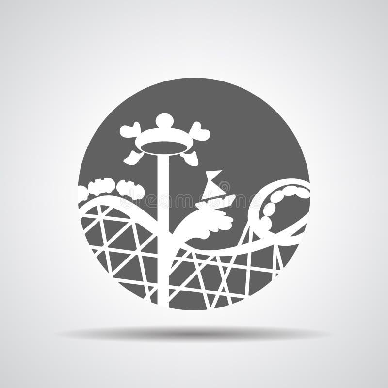Icono negro de la montaña rusa o icono del paseo de la diversión stock de ilustración