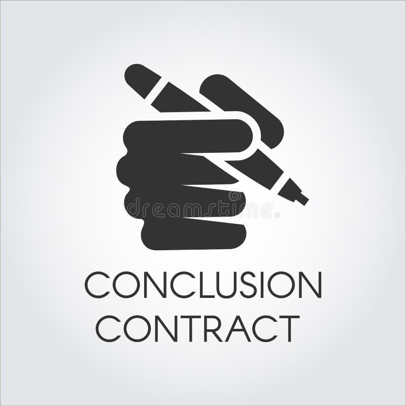 Icono negro de la pluma de tenencia humana de la mano Contrato de la conclusión, documentos de firma, concepto aprobado de la tra libre illustration