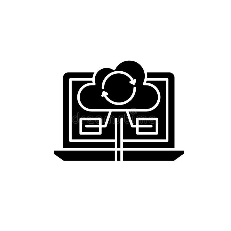 Icono negro de la sincronización del contenido, muestra del vector en fondo aislado Símbolo contento del concepto de la sincroniz libre illustration