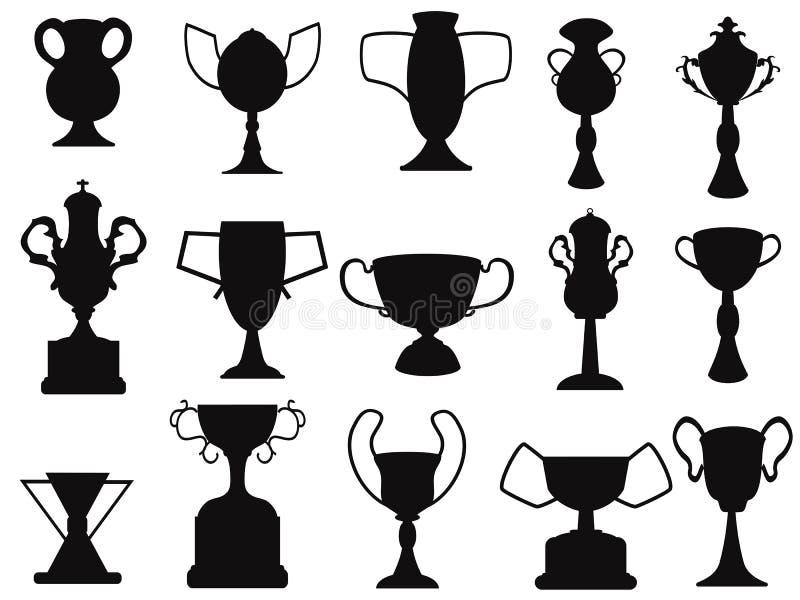 Icono negro de la taza de campeón ilustración del vector