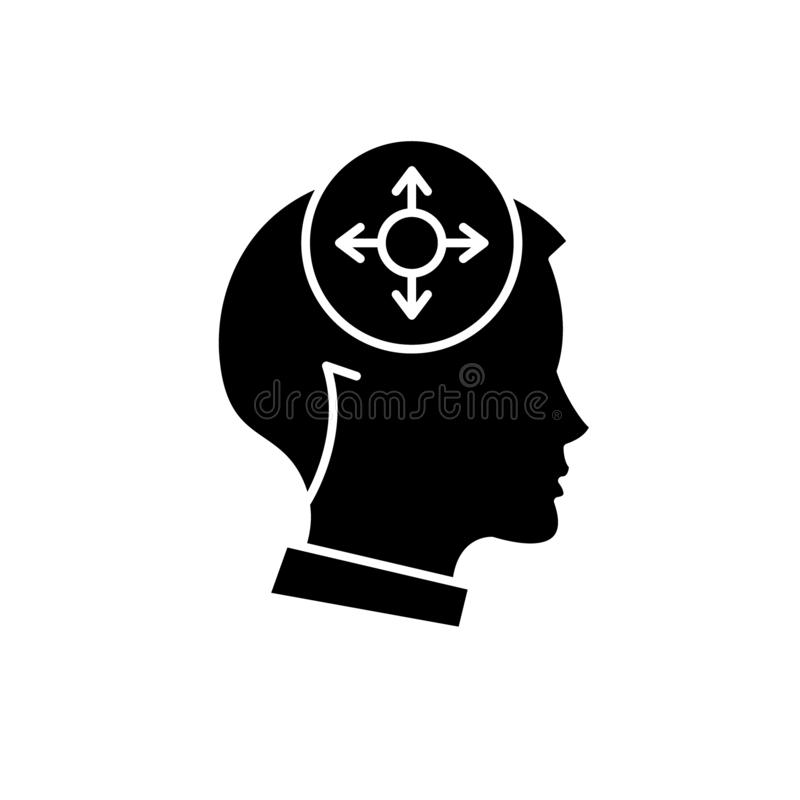 Icono negro de la toma de decisión, muestra del vector en fondo aislado Símbolo del concepto de la toma de decisión, ejemplo stock de ilustración