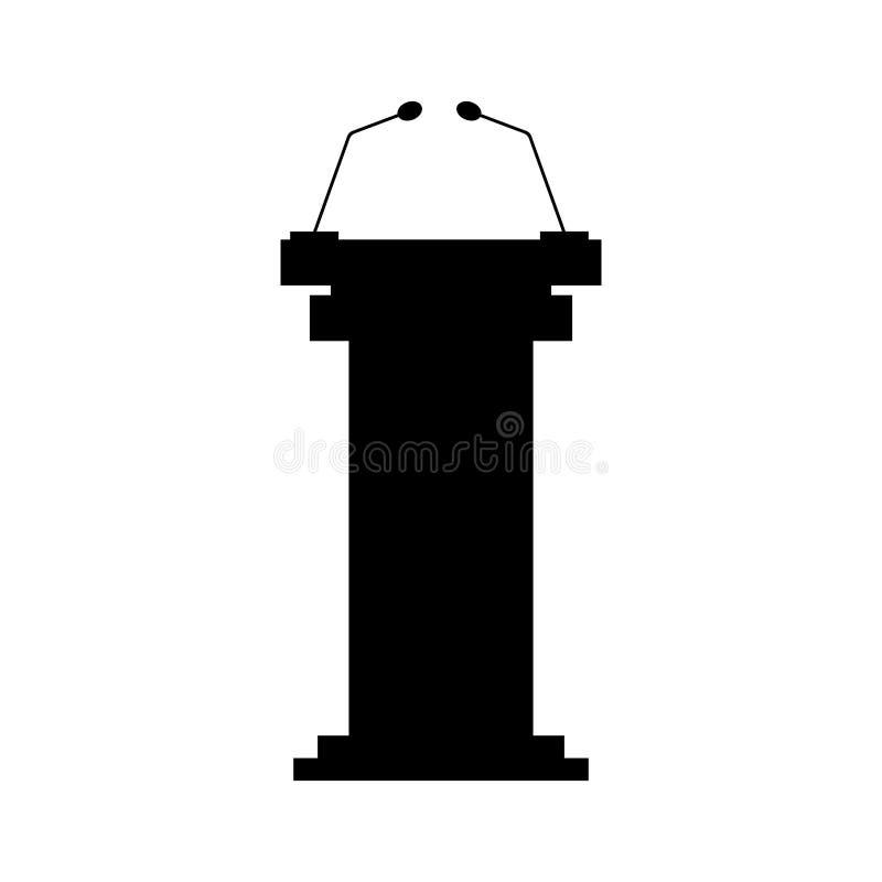Icono negro de la tribuna con los micrófonos stock de ilustración