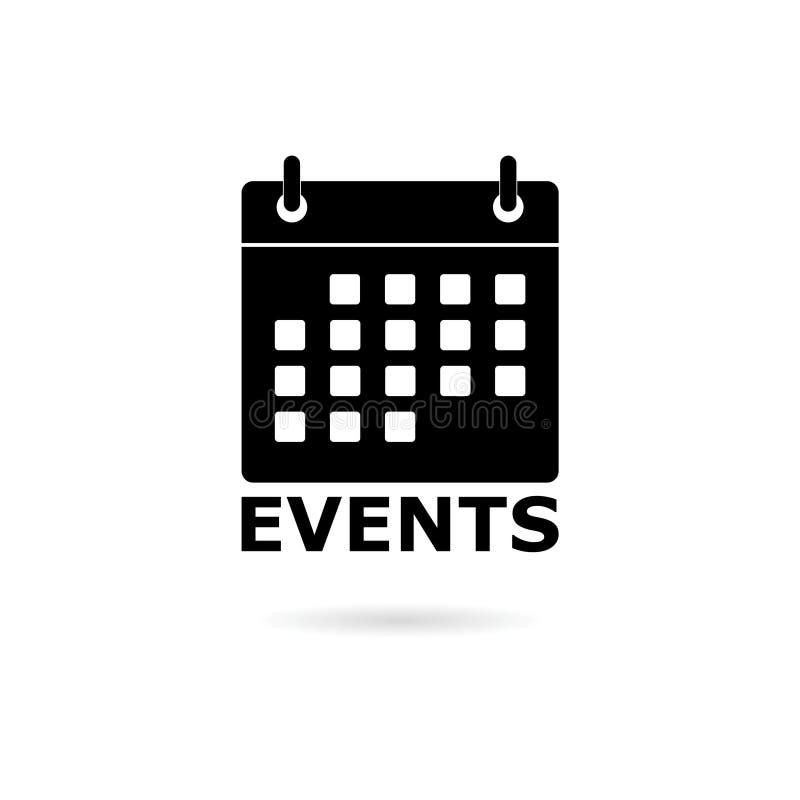 Icono negro del calendario del logotipo de los acontecimientos ilustración del vector