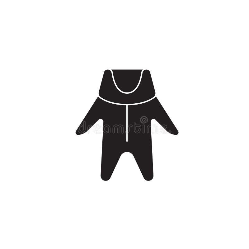 Icono negro del concepto del vector de la ropa del bebé del invierno Ejemplo plano de la ropa del bebé del invierno, muestra stock de ilustración