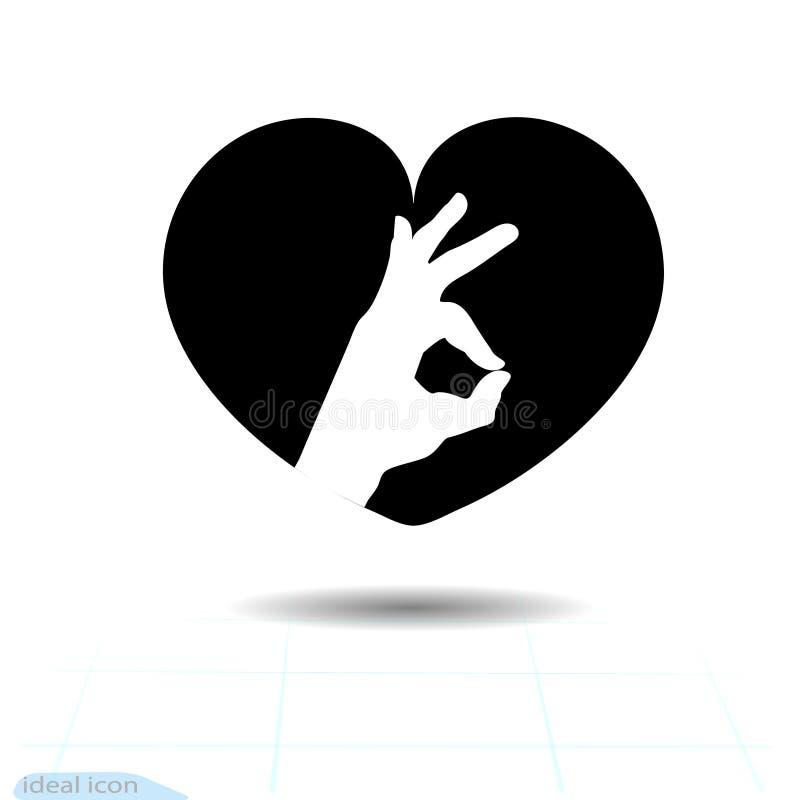 Icono negro del corazón, símbolo del amor Icono aceptable en corazón Muestra del día de tarjetas del día de San Valentín, emblema libre illustration