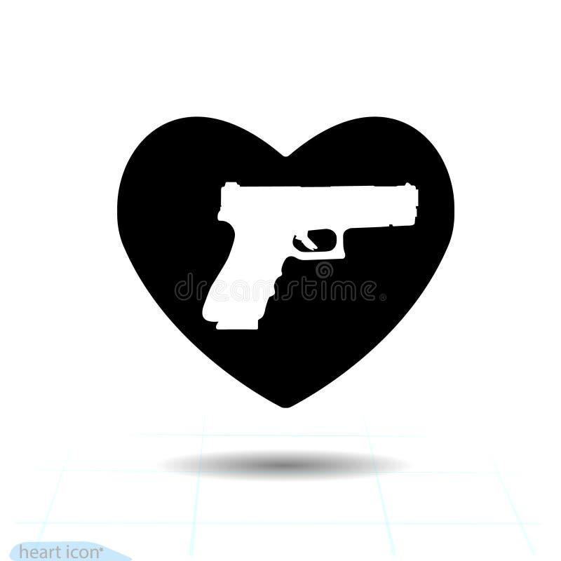 Icono negro del corazón, símbolo del amor Arma de la pistola en corazón Muestra del día de tarjetas del día de San Valentín, embl stock de ilustración