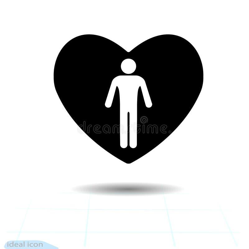 Icono negro del corazón, símbolo del amor El hombre blanco hermoso de la silueta, icono masculino en corazón Muestra del día de t libre illustration