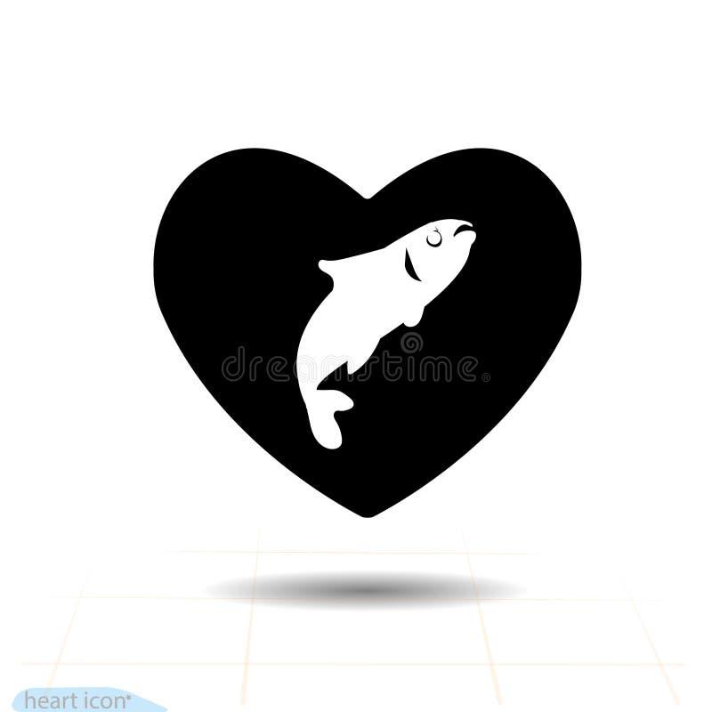 Icono negro del corazón, símbolo del amor Pescados en corazón Muestra del día de tarjetas del día de San Valentín, emblema, estil ilustración del vector