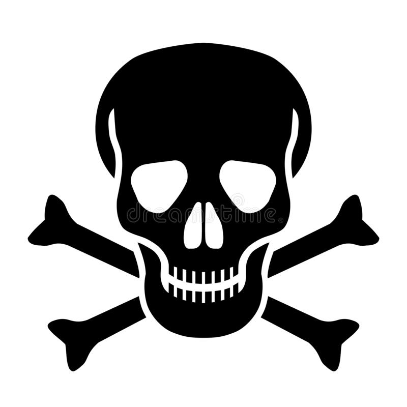 Icono negro del cr?neo y de huesos stock de ilustración
