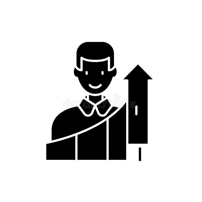 Icono negro del crecimiento personal, muestra del vector en fondo aislado Símbolo personal del concepto del crecimiento, ejemplo stock de ilustración
