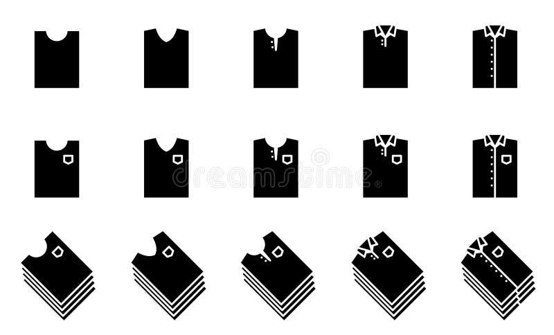Icono negro del doblez de la camiseta y de la camisa fijado para el armario ilustración del vector
