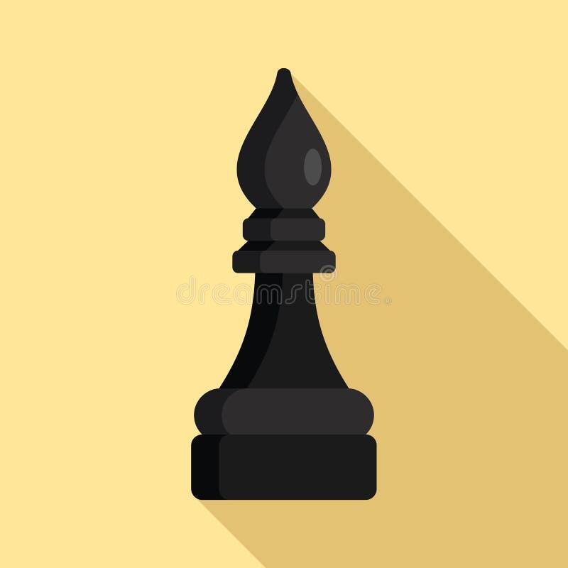 Icono negro del pedazo de ajedrez del obispo, estilo plano libre illustration