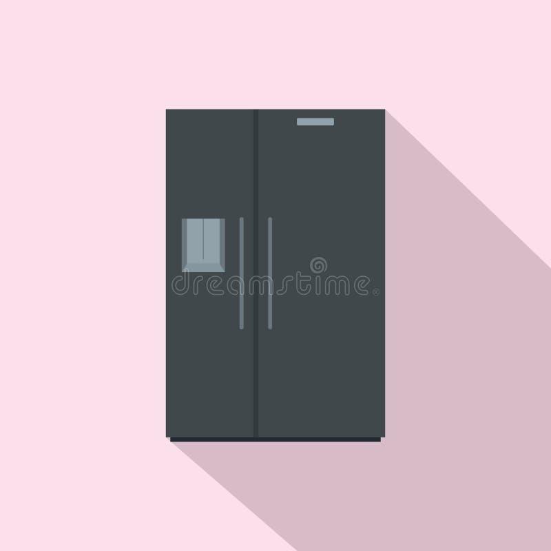 Icono negro del refrigerador, estilo plano ilustración del vector