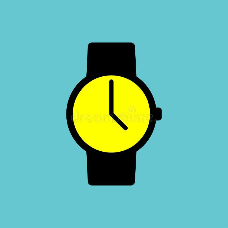 Icono negro del reloj con la exhibición amarilla en fondo azul stock de ilustración