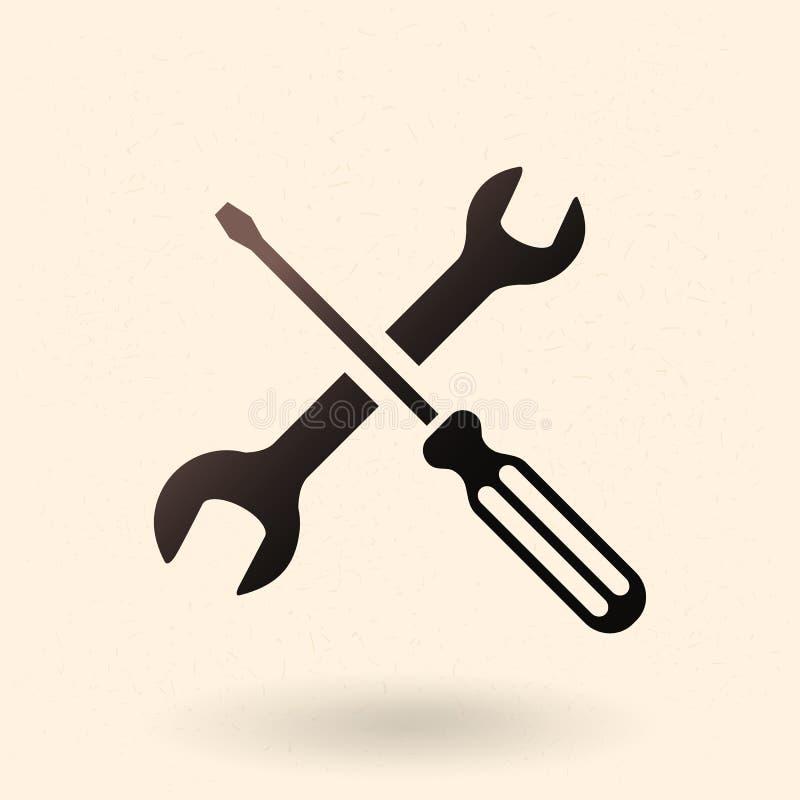 Icono negro del vector - símbolo del ajuste y de las opciones Llave y destornillador cruzados ilustración del vector