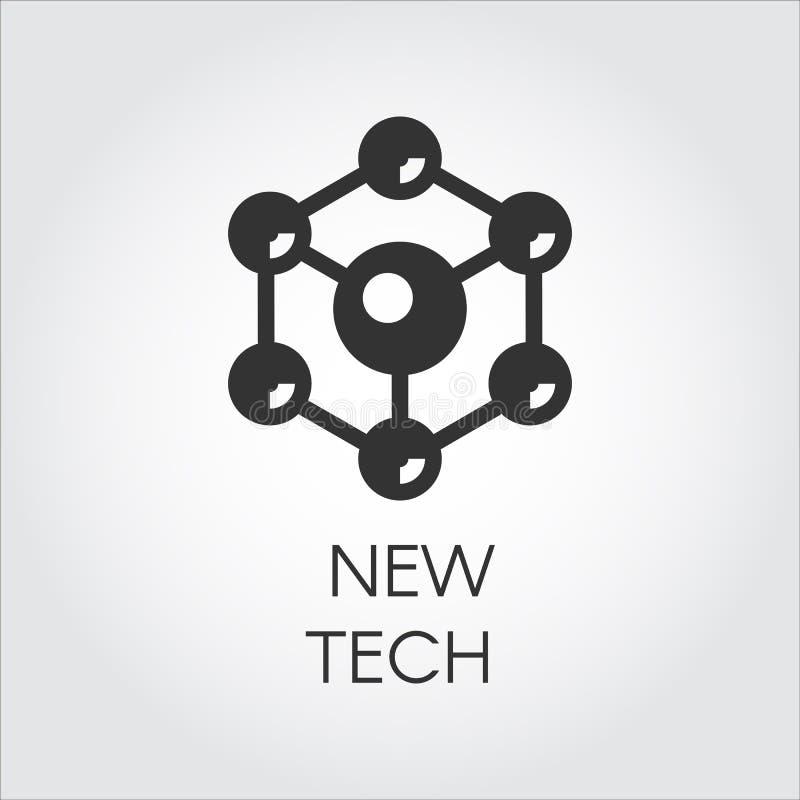 Icono negro en el estilo plano de partículas esféricas Etiqueta de la estructura molecular de la conexión Logotipo del nuevo conc ilustración del vector