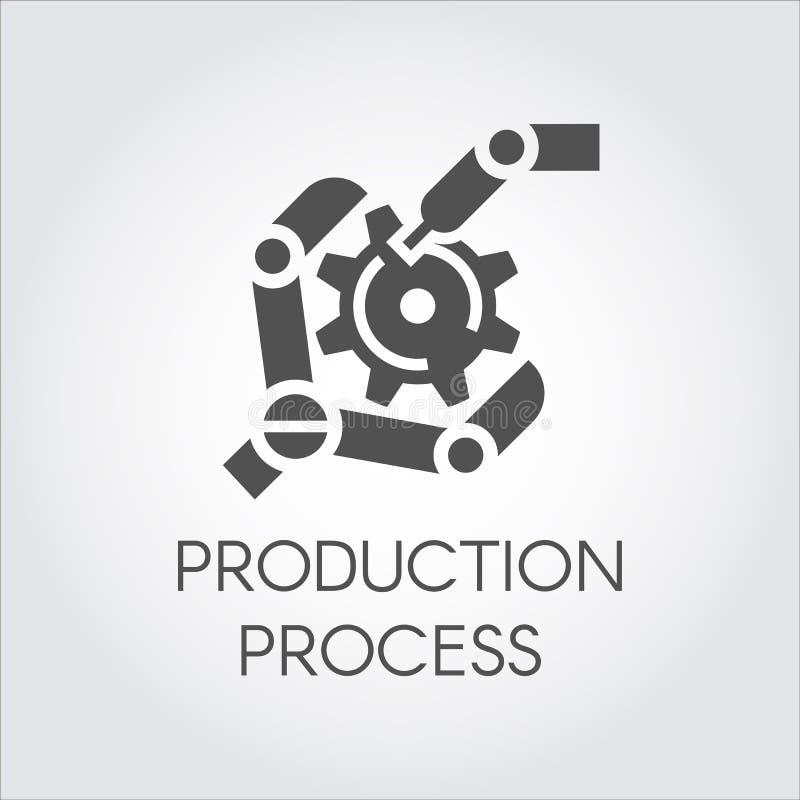 Icono negro en el estilo plano del brazo del robot que recoge el detalle Equipo moderno industrial y producción que procesan conc stock de ilustración